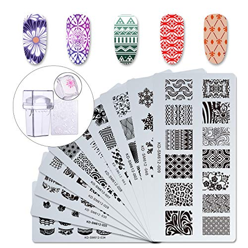 Makartt 12pcs Nail Art Stamp Stamping Templates Kit with 10pcs Plastic Manicure Plates 1 Stamper 1 Scraper for DIY & Salon Nail Art, S-01 ()