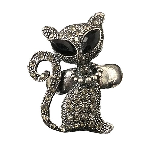 [Twinkle Crystal Metal Ring - Cat (Black Copper)] (Homemade Princess Costumes For Kids)