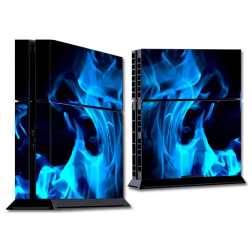 Mightyskins Protective Vinyl Skin Decal Cover for Sony PlayStation 4 PS4 Console wrap sticker skins Blue Flames