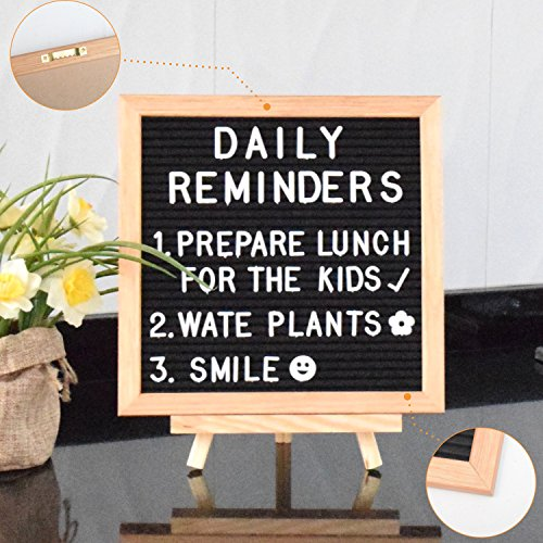 Felt Letter Board 10 x 10 inches with Wooden TRIPOD STAND Classy Black Felt 296 2 SIZE Changeable Letters Gift Box 2 FREE eBooks Oak Frame Wall Mount Hanger Drawstring Bag Perfect gift by Valluey