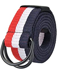 """<span class=""""a-offscreen"""">[Sponsored]</span>Mens 51 inch Double D-Ring Canvas Web Belt Casual Stripe or Solid Pattern"""