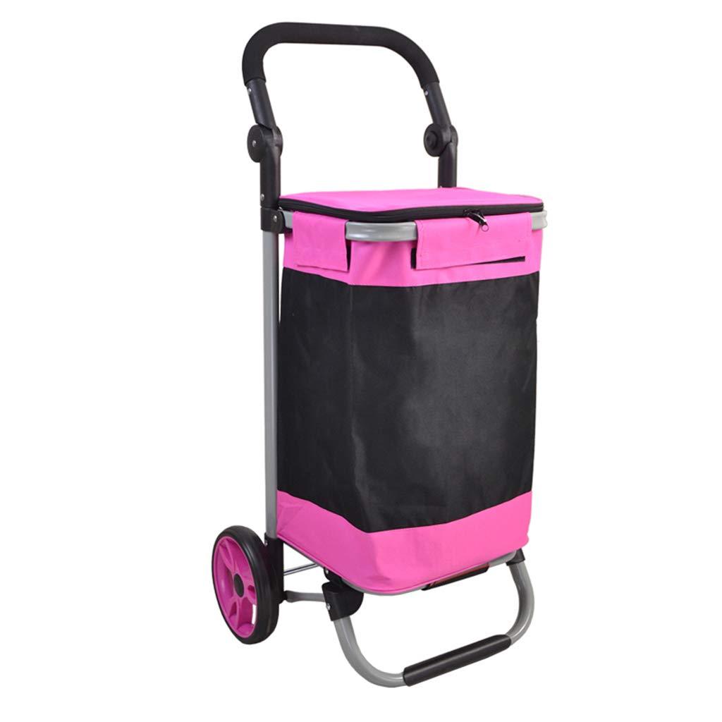 KJZhu スチールパイプ折りたたみカート、ダブルベアリングトロリーフォールディング荷物トロリーエクスプレス物流小型カートサイズ5.7 * 48.5 * 87CM サイレントプーリー (色 : Pink, サイズ さいず : 92*45*33CM) B07KCHQJ64  Pink 92*45*33CM
