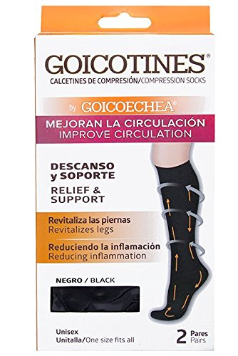 Goicotines Compression Socks in Black for inflammation and varicose veins, 2 Pair