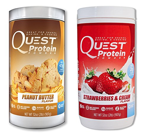 Quest Nutrition Quest Protein kadTtS Powder, Peanut Butter/Strawberries & Cream 2lb Tub (1 of Each) by Quest Nutrition