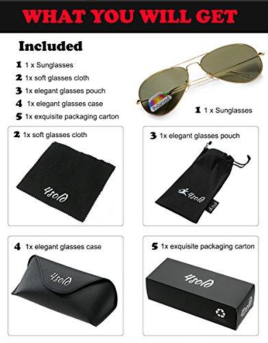 polarizado caso gafas Protección Hombre 4sold de el de Gold sol 400 UV Aviador Black conducción con xXgSvSq5