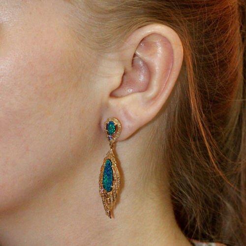 NEW Genuine Opal Tanzanite Diamond Pave Gemstone Dangle Earrings 18k Rose Gold Jewelry (Pave Tanzanite Earrings)