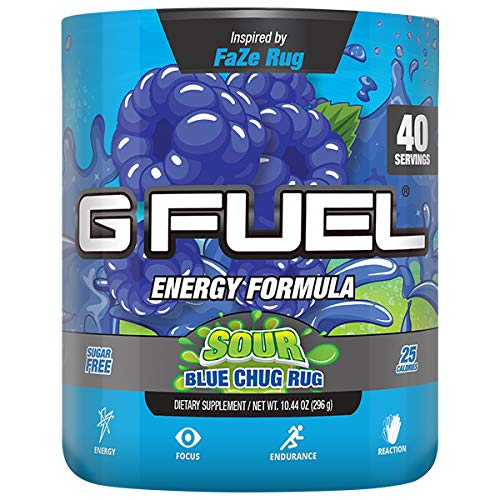G Fuel Sour Blue Chug Rug Tub (40 Servings) Elite Energy and Endurance Formula Inspired by Faze Rug 10.44 oz. (G Fuel Flavors)