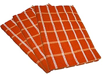 Attractive Portland Luxury Waffle Egyptian Tea Towel [3 PACK] 50x70cm Orange/White