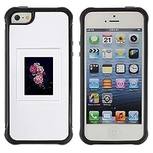 Suave TPU Caso Carcasa de Caucho Funda para Apple Iphone 5 / 5S / floral poster grey black pink nature / STRONG