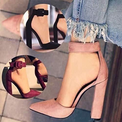 Talons Rouge Bout Cheville Gzhouse Hauts Escarpins Chaussures En Daim À Chunky Bride La Bloquent Boucle Pointu Vin Femmes Sandales BwR1A0q1x