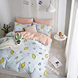 Simple Small Fresh 100% Cotton Quilt Cover & Pillowcase Set Modern Bedding Sets Student Dormitory Decor,Double,Light Blue,Standard