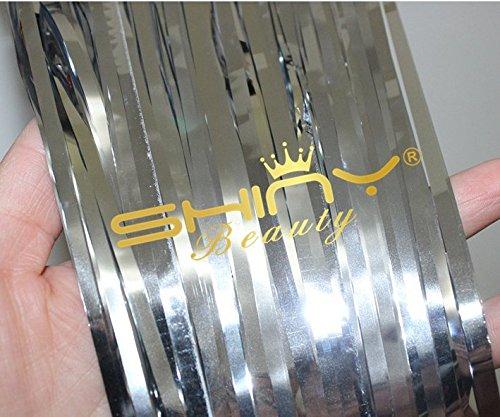 ShinyBeauty Foil Fringe Silver-9FTX8FT Metalic Fringe Curtain Tinsel Photo Backdrop by ShinyBeauty (Image #2)