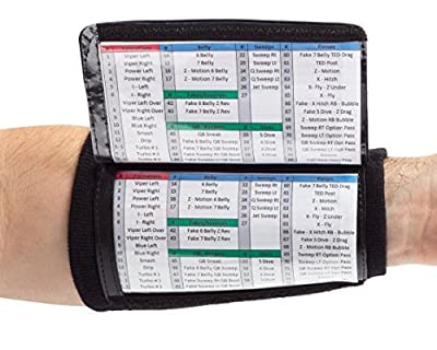 WristCoaches QB Wrist Coach - Playbook Wristband (Youth) - Heavy Duty Football Wristbands for Boys with Three Playsheet Compartments - Perfect for Flag Football and Tackle Football (10-Pack)