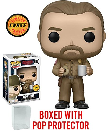 Stranger Things Hopper with Donut Pop! Vinyl Figure Chase Variant and (Bundled with Pop BOX PROTECTOR CASE) ()