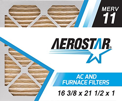 Aerostar 16 3/8x21 1/2x1 MERV 11, Pleated Air Filter, 16 3/8x21 1/2x1, Box of 4, Made in the USA
