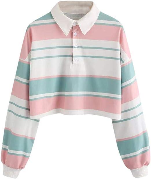 Polos Sudaderas Mujer Cortas - Tumblr a Cultivo a Rayas - Manga Larga - Blusa Camiseta Oferta - Otoño e Invierno Ropa de Vestir: Amazon.es: Ropa y accesorios
