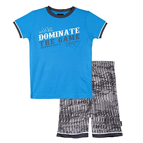 (Spalding Boys Athletic Basketball Graphic Crewneck T Shirt Short Seeve Top and Shorts Gym Set, Bright Blue, 2T)