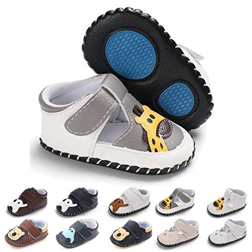BEBARFER Baby Boys Girls Shoes Cartoon Crawling Slippers Soft Moccasins Toddler Infant Crib Pre-Walkers First Walkers Shoes Sneakers(12-18 Months M US Infant,B-Grey Giraffe) (Infant Walking Shoes Best For Learning To Walk)