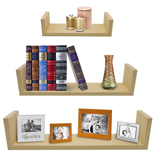 Esspresso Wood (Sorbus Floating Shelves—U Shaped Hanging Wall Shelves for Decoration—Perfect for Trophy Display, Photo Frames, Collectibles, and Much More (Set of 3, Maple))