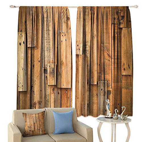 cobeDecor Wooden Thermal Curtains Lodge Style Teak Hardwood Wall Planks Image Print Farmhouse Vintage Grunge Design Artsy Privacy Protection