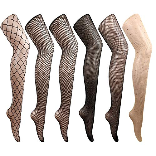 DRESHOW 6 Pack Fishnet Stockings Hight Waist Tights Thigh High Pantyhose (6 Pack Of Fishnet Fashion Tights Black)