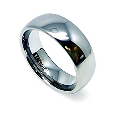 8mm Tungsten Carbide Comfort Fit Dome Shiny Plain Wedding Band Ring