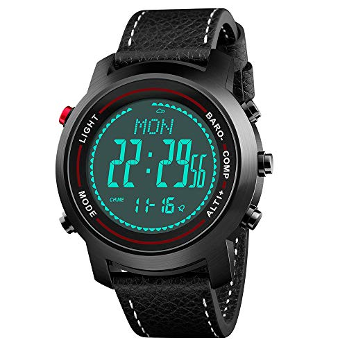 (Men Digital Sports Watches with Compass Pedometer Altimeter Barometer Military Waterproof Wristwatch with Leather Band)