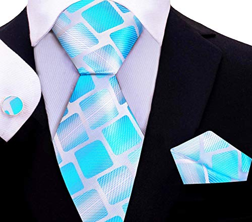 Twenty Dollar Tie Men's Abstract Tie Pocket Square Cuff-links (Bright Blue/White)