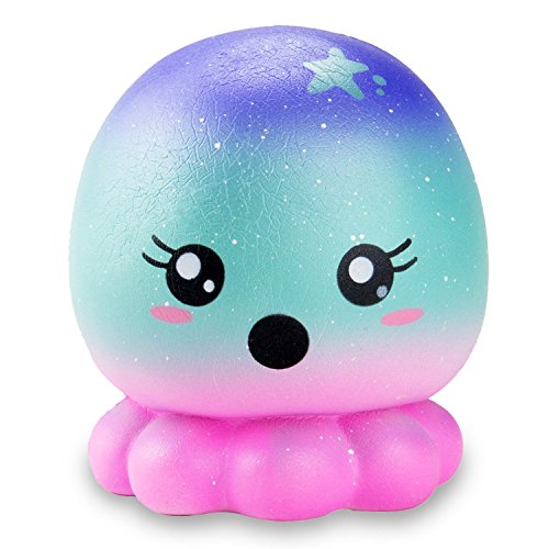 R • HORSE Jumbo Squishy Kawaii Cute Starry Sky Octopus Cream Scented Squishies Slow Rising Kids Toys Doll Stress Relief Toy Hop Props, Decorative Props Large (Starry Sky Octopus)