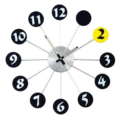 JT Reloj De Pared De Metal Silencio Luminoso Puntero Reloj Digital Salón Dormitorio Decoraciones 20 Pulgadas