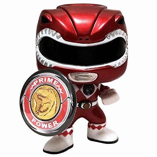 Funko Pop Mighty Morphin Power Rangers Metallic Red Ranger Vinyl Action Figure # 406 + Morpher Pin (Power Rangers Mighty Morphin Zords)