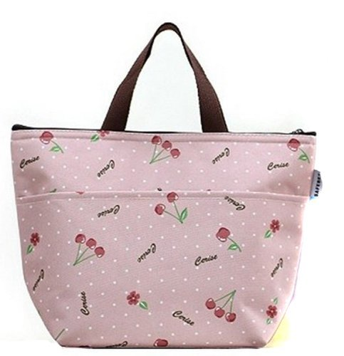 NewPlaza Waterproof Picnic Lunch Bag Tote Insulated Cooler Travel Zipper Organizer Box (Cherry)