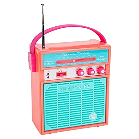 SunnyLife Retro Portable Beach MP3 Smartphone Speaker with AM/FM Radio - Coral (Dab Car Audio)