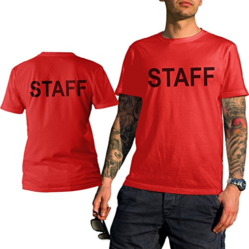 Event Staff Crew Concert T Shirt Two Side Print Red  Red  Medium
