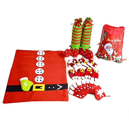 Hihamer 25 PCS Christmas Dining Table Decorations Set - Table Placemats Dinner Mat/Santa Suit Silverware Holders/Elf Shoe Table Leg Covers/Mini Snowflake Tableware Holders Candy Pouch/Gifts Treat Bag