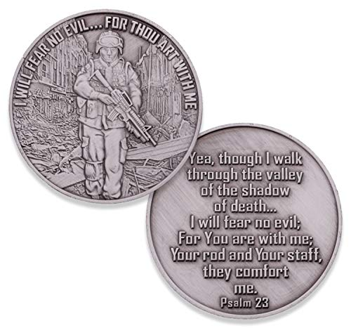 Armed Forces Fear No Evil Challenge Coin, Military Support Coin. Die Struck Antique Silver Challenge Coin Designed by Military Veterans! Marines Corps, Navy, Army, Air Force, Coast Guard!