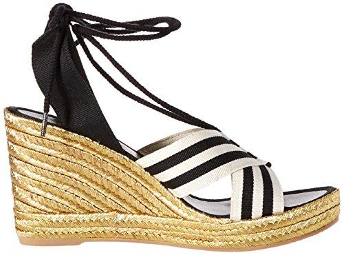 Marc Jacobs Kvinders Dani Espadrille Kile Sandal Sort / Hvid 9U5Fx1OXGC