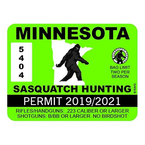 "RDW Minnesota Sasquatch Hunting Permit - Color Sticker - Decal - Die Cut - Size: 4.00"" x 3.00"""