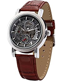 Fashion Men's Skeleton Automatic Mechanical Date Brown Leather Wrist Watch PMW044