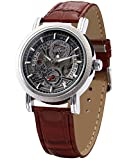 AMPM24 Fashion Men's Skeleton Automatic Mechanical Date Brown Leather Wrist Watch PMW044