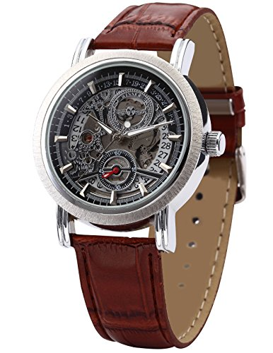 Brown Skeleton - AMPM24 Fashion Men's Skeleton Automatic Mechanical Date Brown Leather Wrist Watch PMW044