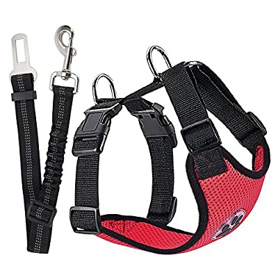 Nasus Dog Car Harness Plus Connector Strap, Adjustable Double Breathable Mesh Fabric Vest Harness with Safety Seatbelt in Vehicle for Dogs Road Trip Daily Walks