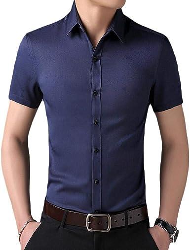 Joyfeel - Camisa de Manga Corta para Hombre, de algodón de Negocios, Color Liso, Transpirable: Amazon.es: Ropa y accesorios