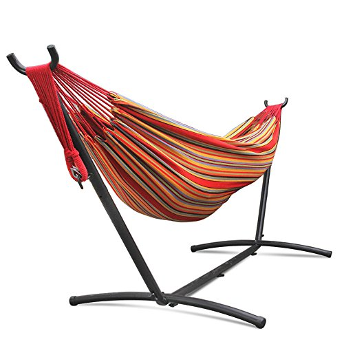 Eight24hours Double Hammock With Space Saving Steel Stand Includes Portable Carrying Case