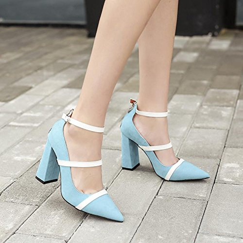 LvYuan-mxx Sandalias de las mujeres / verano y la primavera / alrededor de la hebilla / talón grueso / boca puntiaguda dedo del pie superficial / Oficina y Carrera / Vestido / Casual / zapatos de tacó BLUE-38