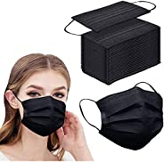 100pcs Black Disposable Face Mask 3-ply Black Face Masks Breathable