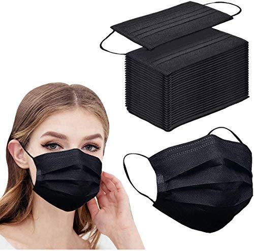 100pcs Black Disposable Face Mask 3-ply Black...