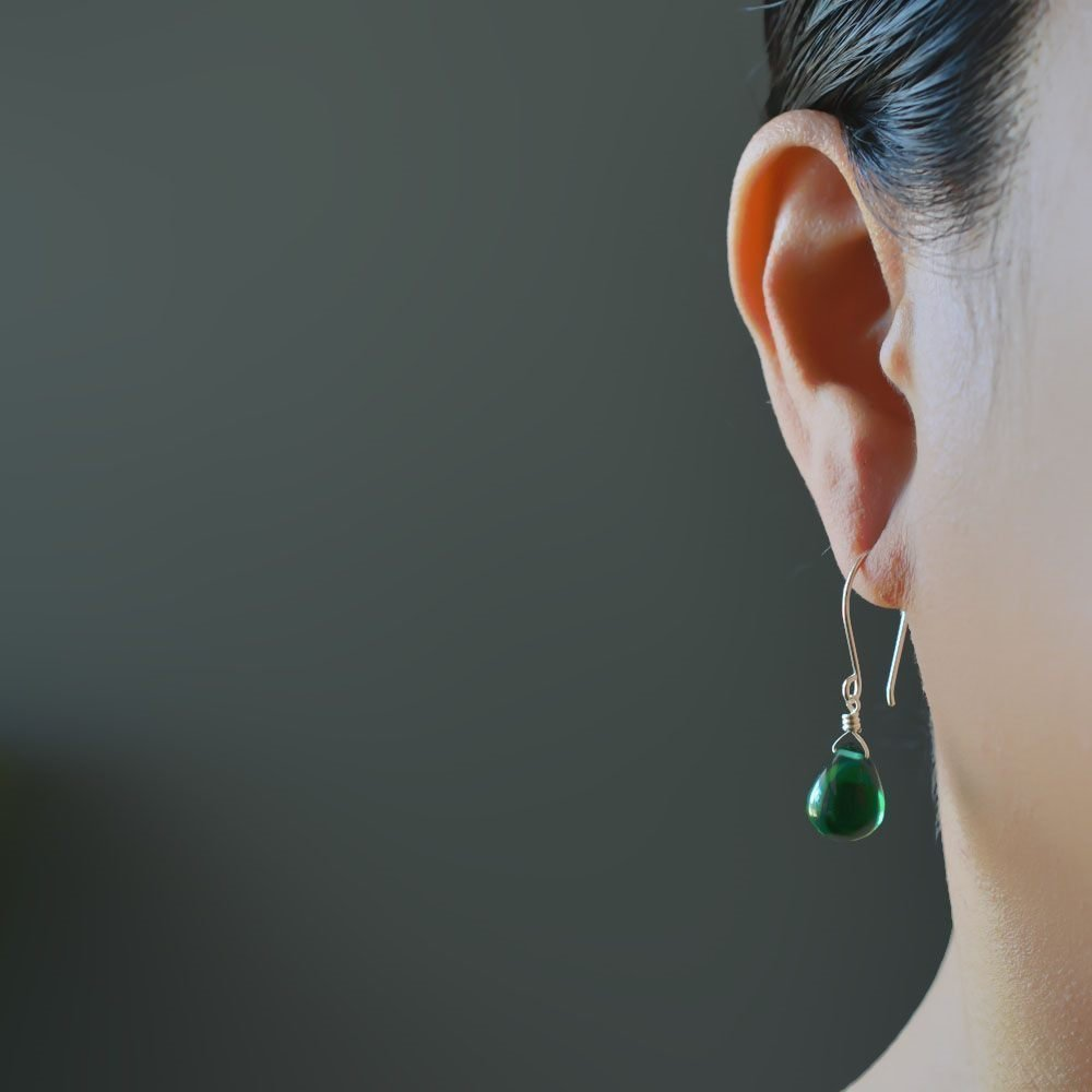 Green Earrings Glass Drop Sterling Silver