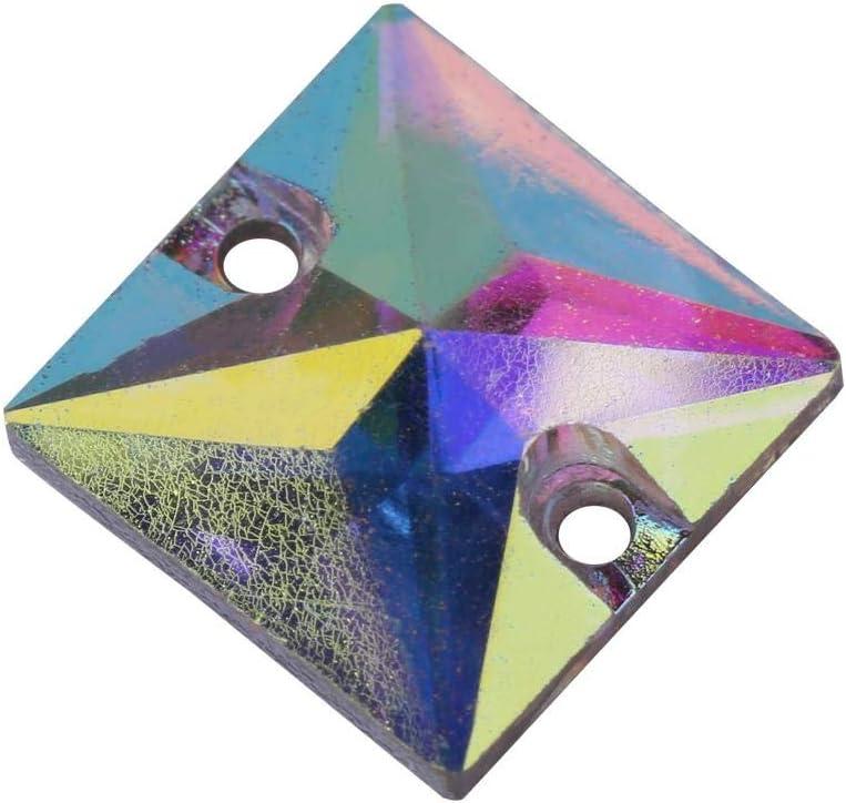 200 Unids Flatback Rhinestones AB Cristal de Resina Acrílica con Agujero Goteo Costura Rhinestone Botón Artesanía Cinco Estilo para Elegir(Square-Vistoso)