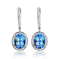 Diamond Studded Topaz Drop Earrings